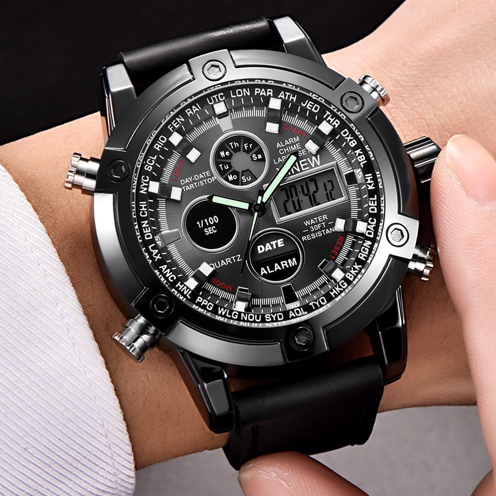 新品★日本未入荷★XINEWデジタル&アナログ腕時計 多機能 ストップウォッチ LED カレンダー ディーゼル G-SHOCK オメガ ファンに人気 黒_画像5