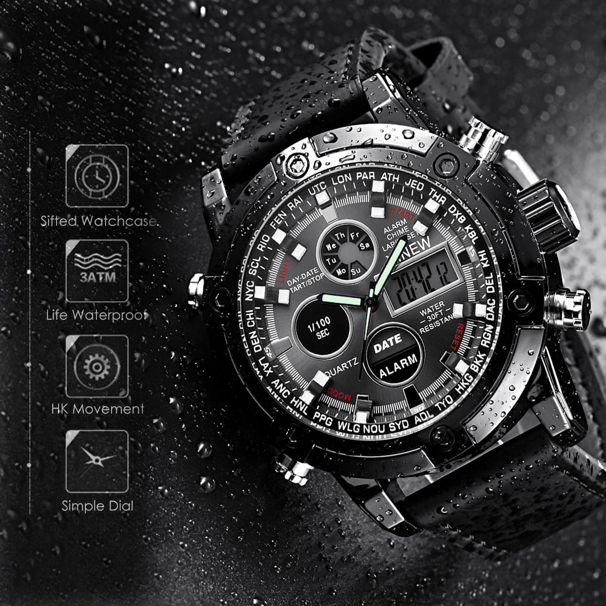 新品★日本未入荷★XINEWデジタル&アナログ腕時計 多機能 ストップウォッチ LED カレンダー ディーゼル G-SHOCK オメガ ファンに人気 黒_画像3