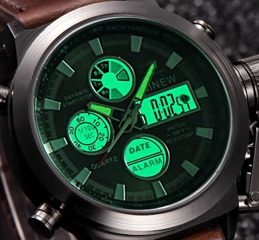 新品★日本未入荷★XINEWデジタル&アナログ腕時計 多機能 ストップウォッチ LED カレンダー ディーゼル G-SHOCK オメガ ファンに人気 黒_画像4