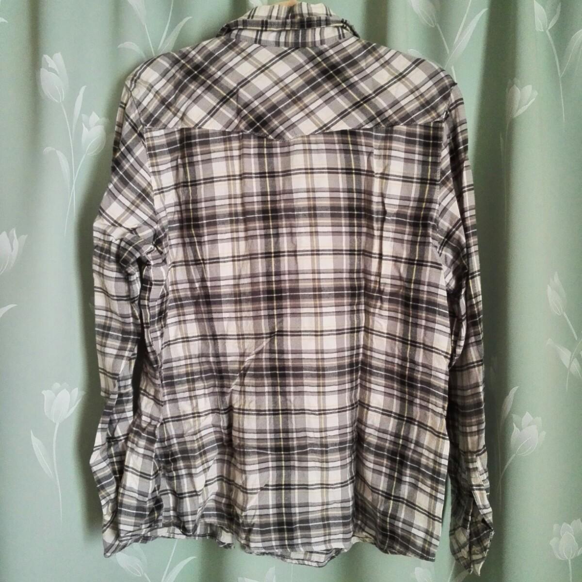 長袖シャツ チェックシャツ L