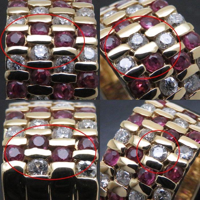 リング K18YG ルビー0.51ct ダイヤモンド0.89ct 12.5号 18金イエローゴールド 指輪 レディース ジュエリー /64433 【中古】_画像9