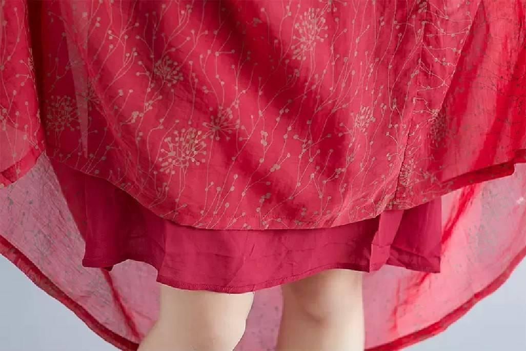 小花柄 ボタニカル リゾート レトロ ロカビリー ロングワンピース レッド 赤 ゆったり アジアン 7分袖 フェミニン お好きな方にも