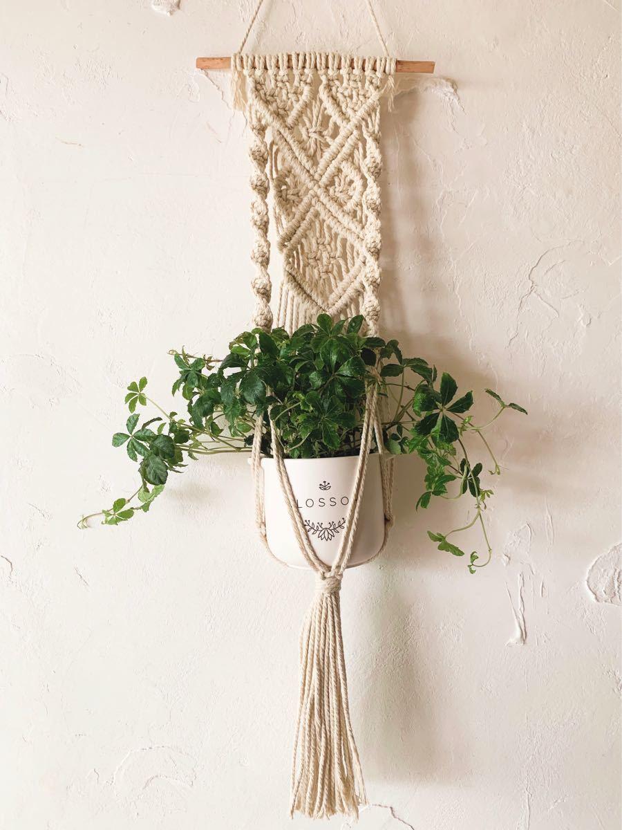 マクラメ プラントハンガー 観葉植物 3号鉢 オシャレ 北欧  インテリア