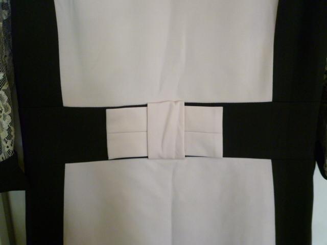 Klinnneda♪黒淡ベージュレースデザインウエストリボンフォーマルワンピースEU44/ブラック結婚式パーティーバイカラー大きいサイズ♪H1115_画像5
