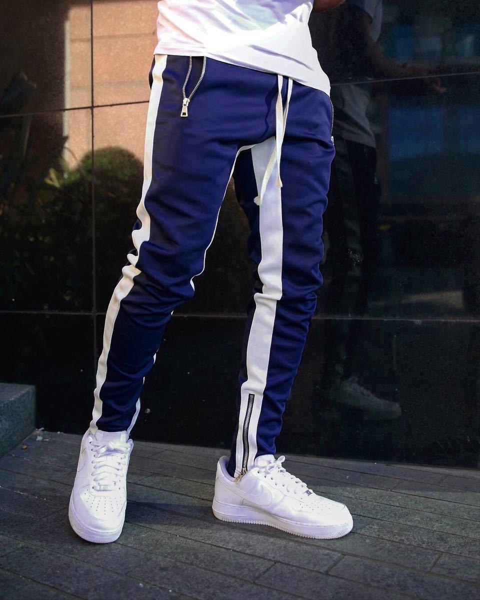 【XLサイズ】ブルー ジョガーパンツ ラインパンツ スキニー スウェット パンツ