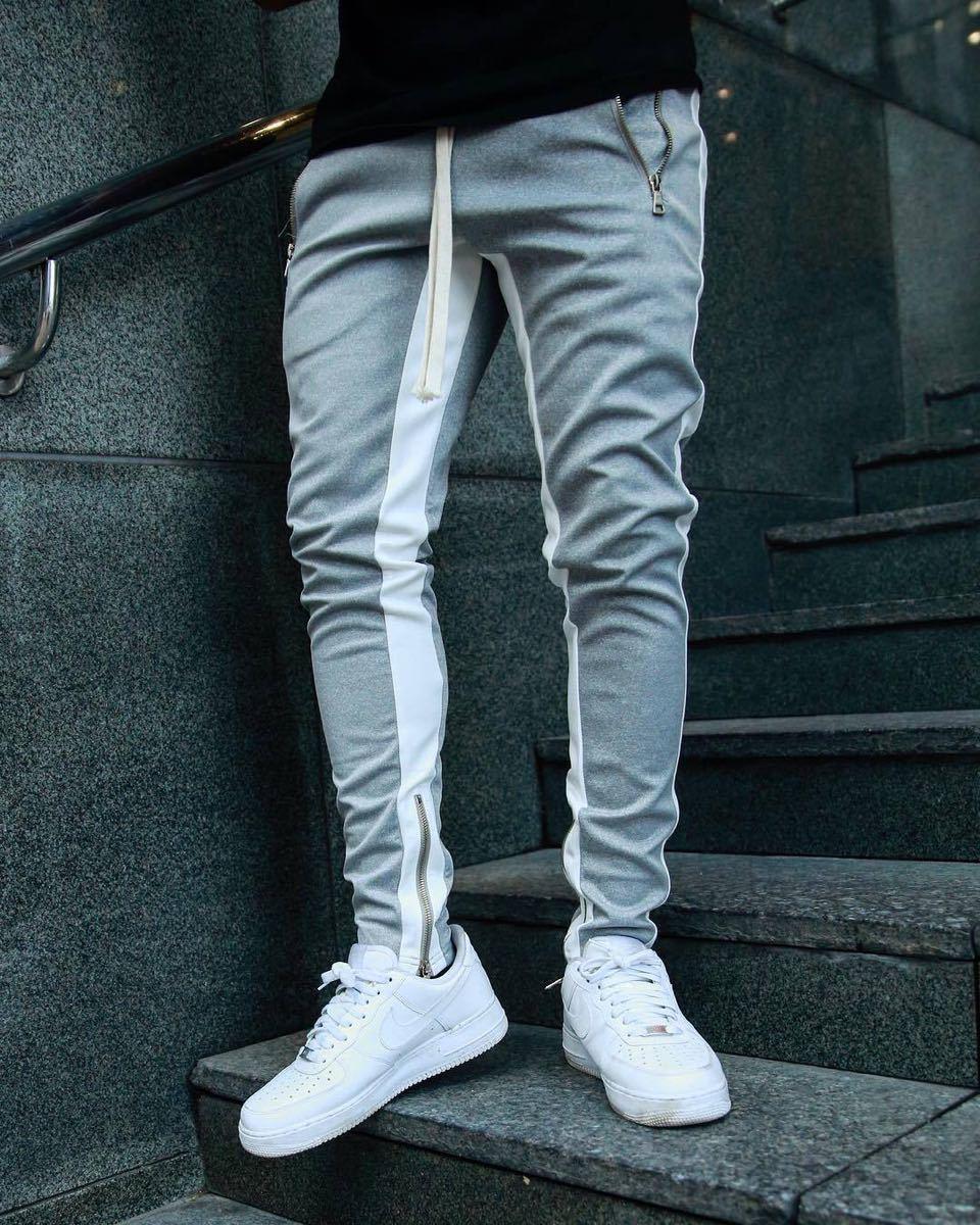 【XLサイズ】グレー ジョガーパンツ ラインパンツ スキニー スウェット パンツ