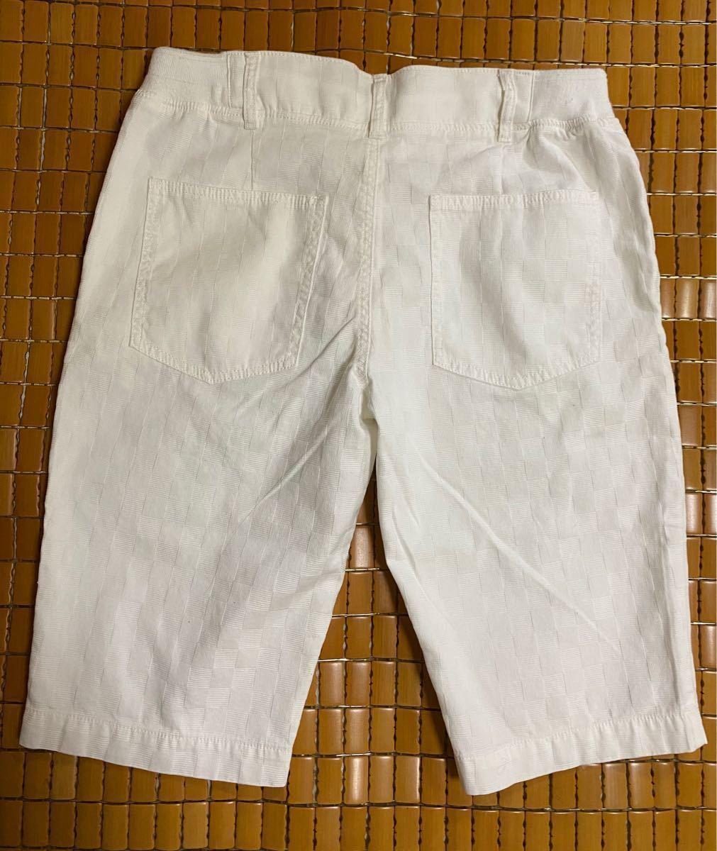 メンズ ショートパンツ ハーフパンツ 白パンツ 短パン 半ズボン LL
