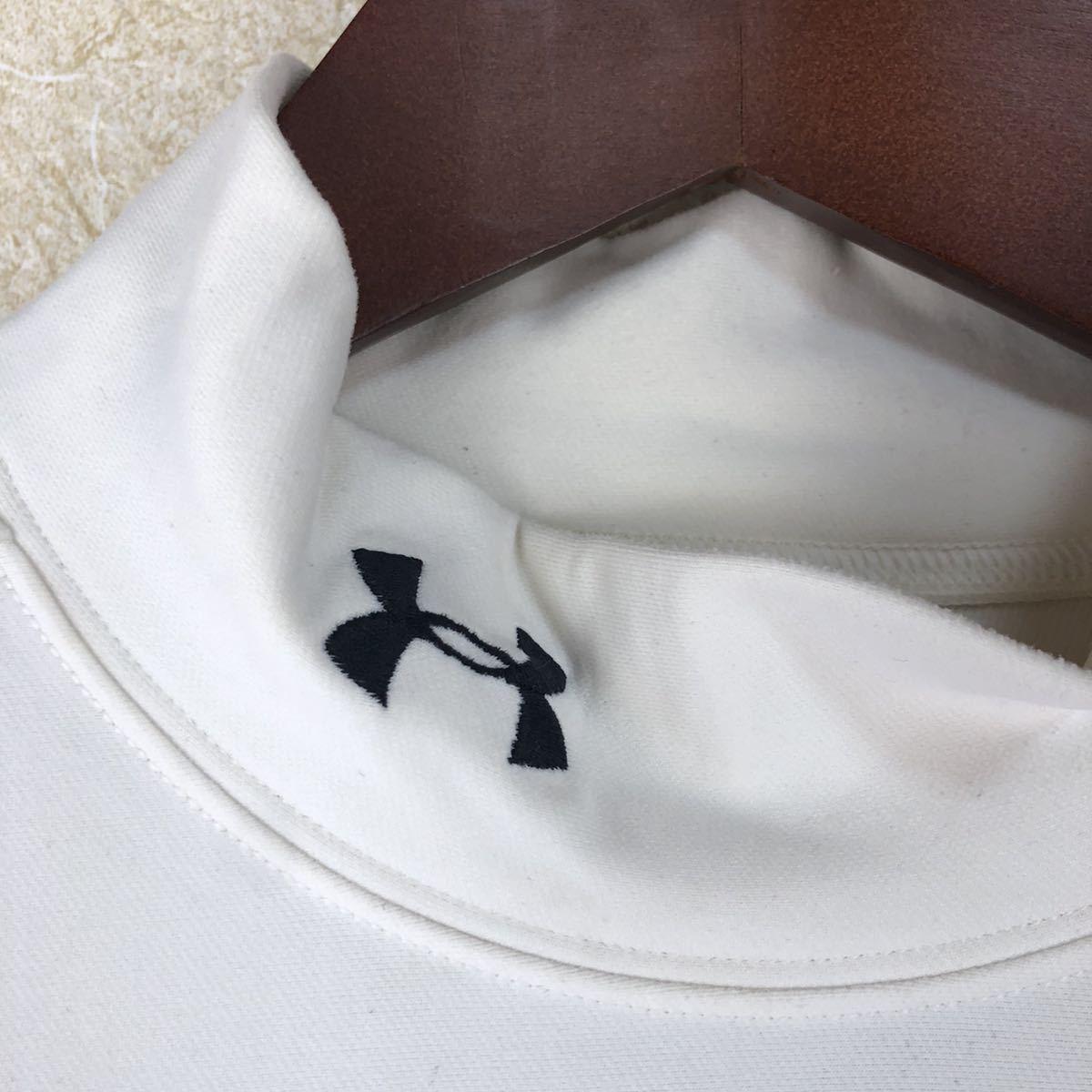 [送料無料 即決 使用感有 希少サイズ]アンダーアーマー 長袖 Tシャツ XXL ホワイト インナー コンプレッション 冬用 コールドギア