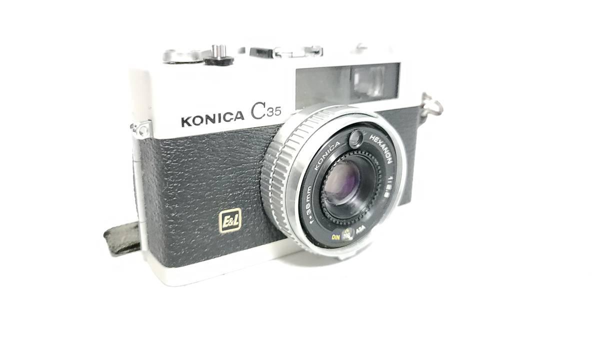 送料無料♪動作良好【KONICAフィルムカメラ】コニカ KONICA C35 E&L 38mm F2.8 コンパクトフィルムカメラ  _画像2