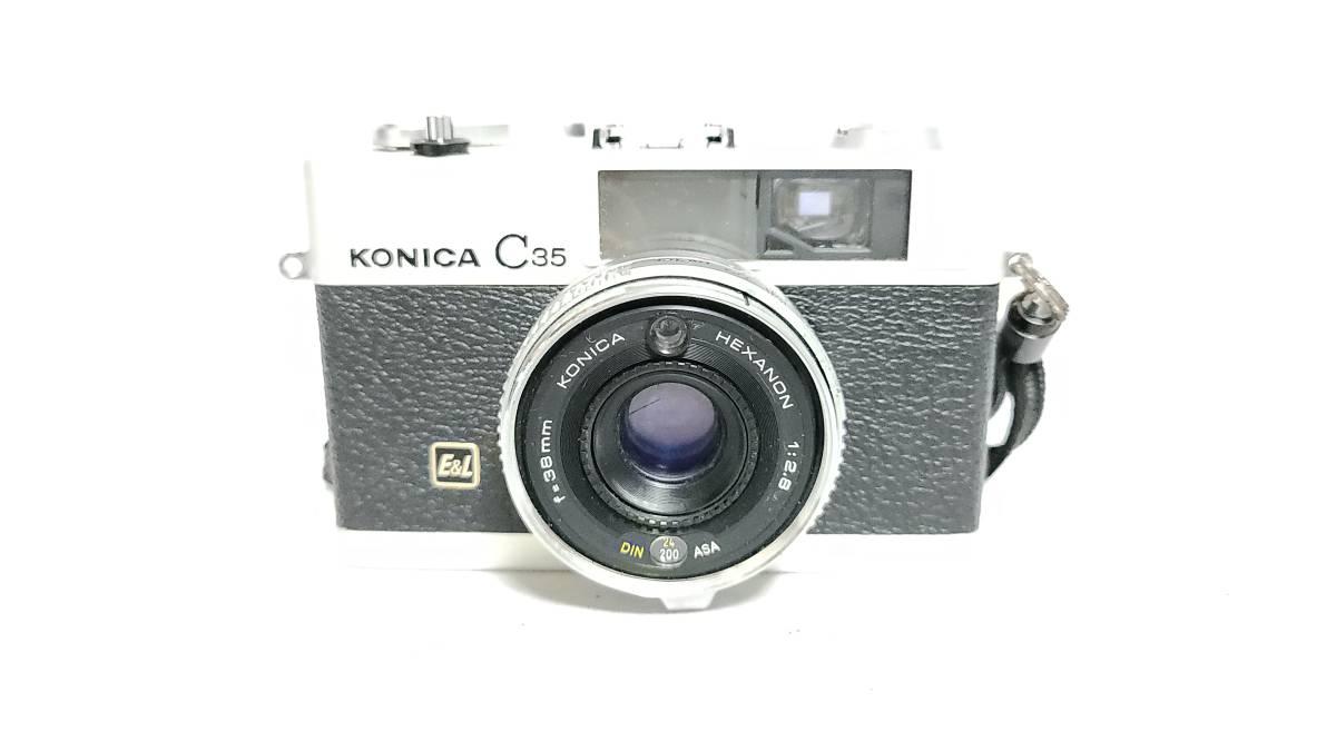 送料無料♪動作良好【KONICAフィルムカメラ】コニカ KONICA C35 E&L 38mm F2.8 コンパクトフィルムカメラ  _画像3