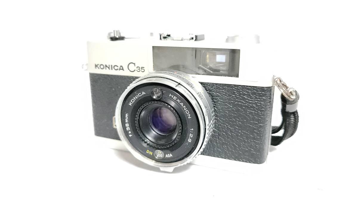 送料無料♪動作良好【KONICAフィルムカメラ】コニカ KONICA C35 E&L 38mm F2.8 コンパクトフィルムカメラ  _画像1