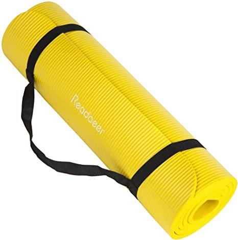 ヨガマット トレーニング エクササイズ ゴムバンド 収納ケース付 厚さ10mm 黄色