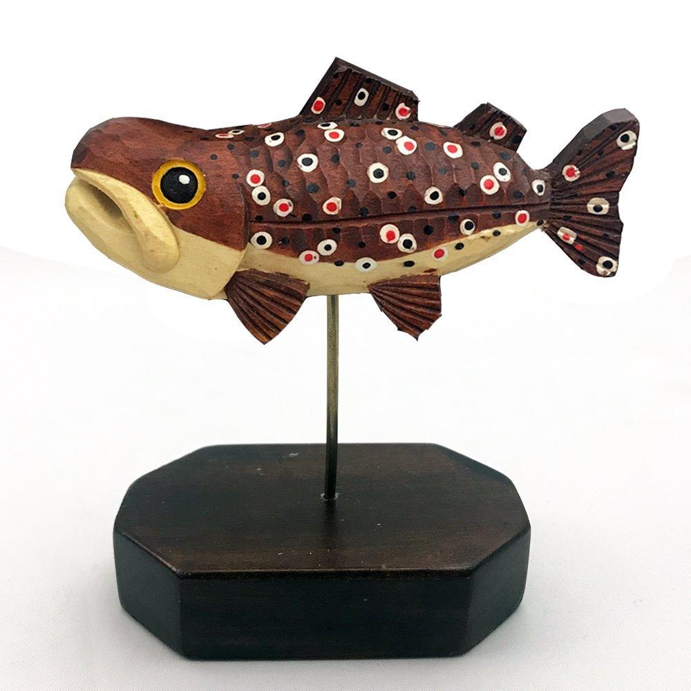 木彫り民芸品 TROUT オブジェ ブラウントラウト 魚 釣り 手彫り アイヌ 民族 北海道土産_画像1