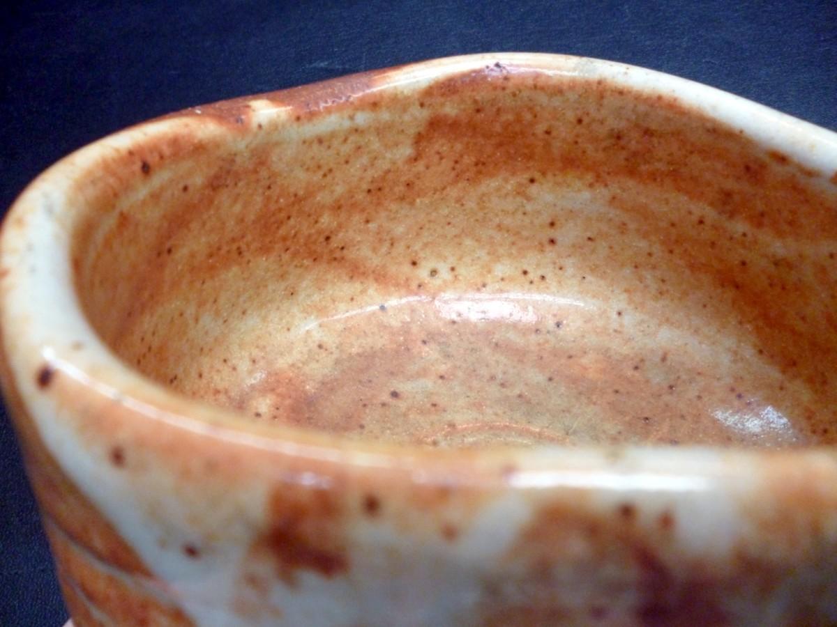 ★ 抹茶茶碗 志野焼 昇宛 瓢形 共箱付 茶碗 志野 茶道具 中古 ★:_画像7