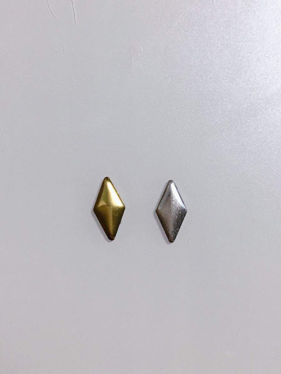 ネイルパーツ菱形4x8mm ゴールド400粒とシルバー400粒
