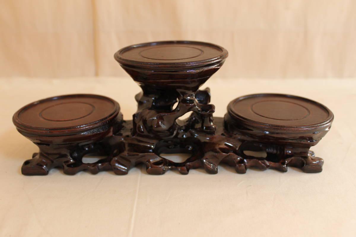◆飾り台 違い棚 3段 唐木 花瓶台 香台 花台 盆栽 台_画像1