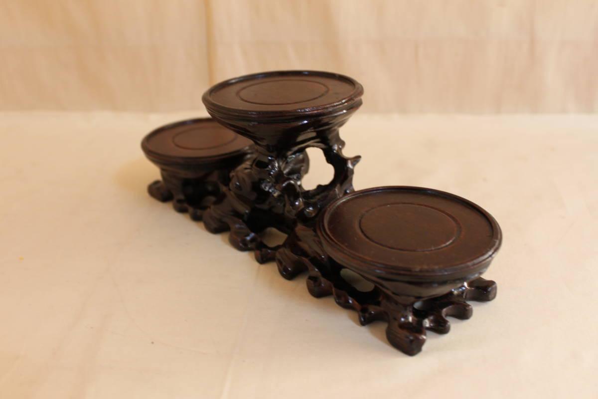 ◆飾り台 違い棚 3段 唐木 花瓶台 香台 花台 盆栽 台_画像3