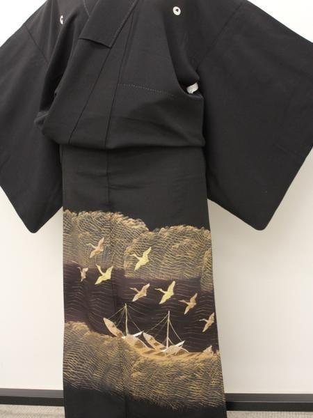 黒留袖袷 手描き友禅 金彩 wkj 楽布80516_画像2