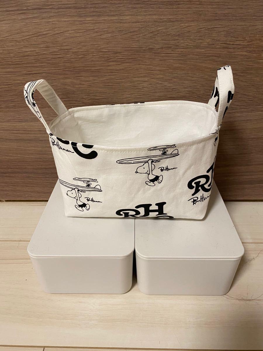 ハンドメイド★ロンハーマンサーフィンスヌーピー柄★布製バスケット★トイレットペーパー2個入る大きさ★