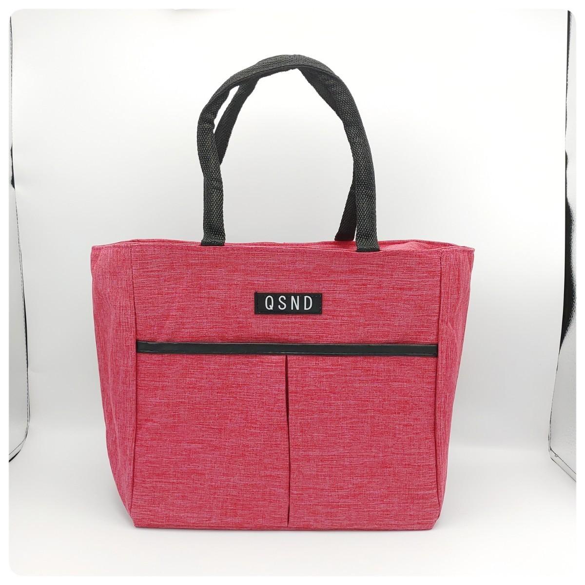 保冷機能付き エコバッグ  トートバッグ ランチバッグ ファスナー付き ピンク