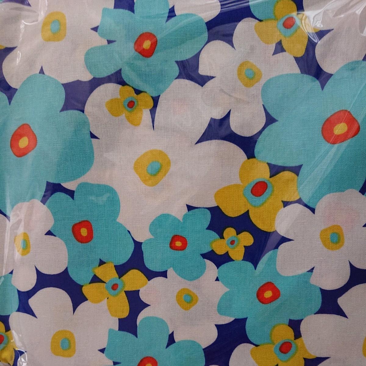 生地 綿麻キャンバス 大きなフラワー 花柄 北欧風 約110cm×約100cm
