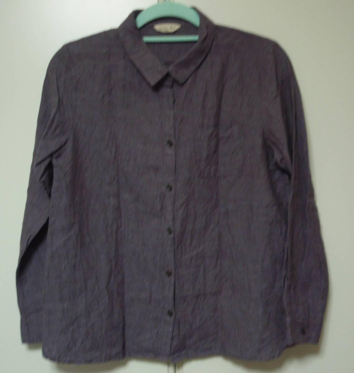 ◇Samansa Mos2 長袖ブラウス 麻74% 長袖シャツ F あずき色 サマンサモスモス_画像1