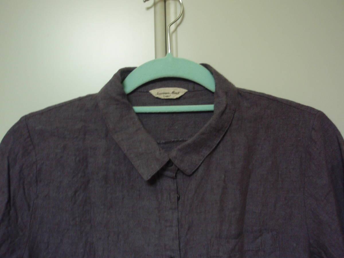 ◇Samansa Mos2 長袖ブラウス 麻74% 長袖シャツ F あずき色 サマンサモスモス_画像2