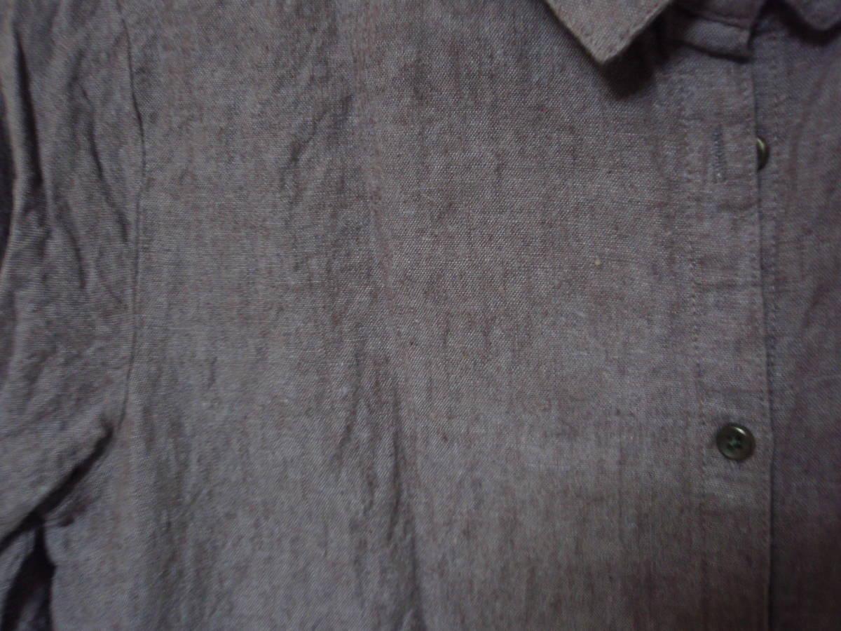 ◇Samansa Mos2 長袖ブラウス 麻74% 長袖シャツ F あずき色 サマンサモスモス_画像5