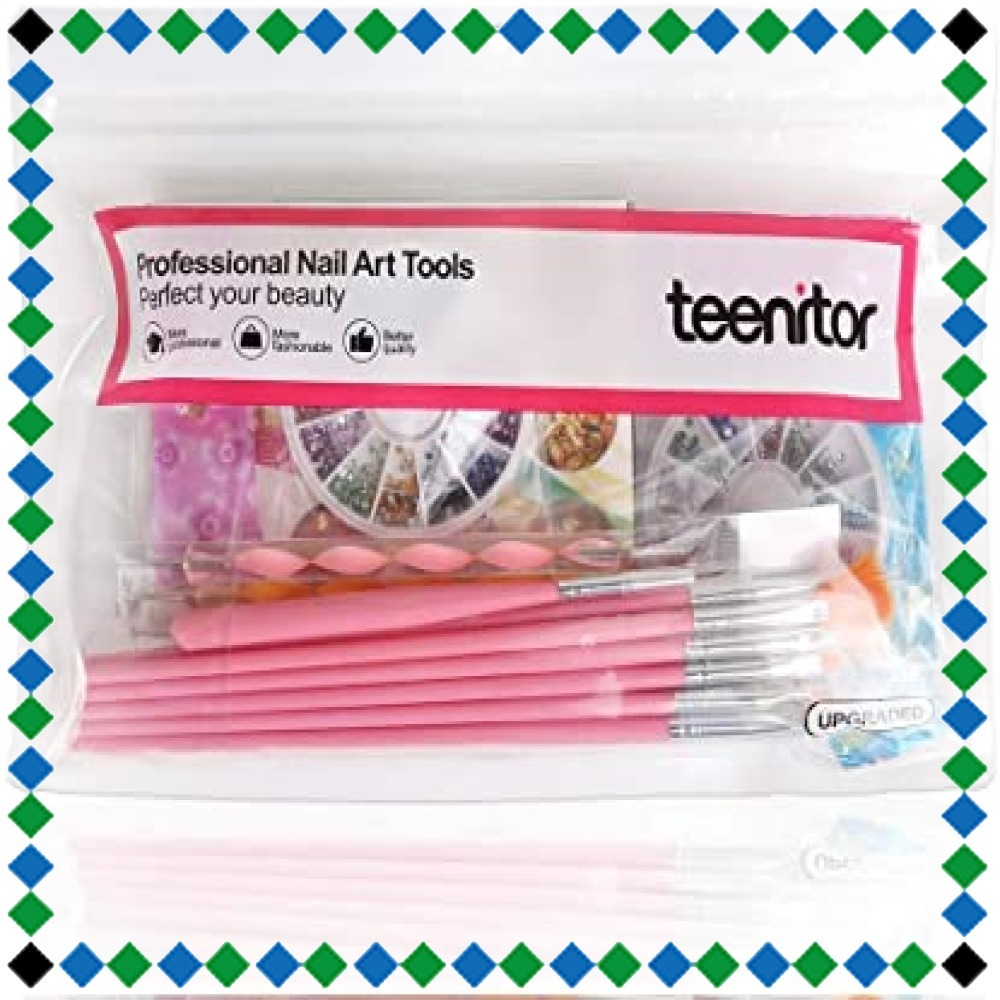 Teenitor ネイルアートブラシ ネイルブラシセット ドットペン ジェルネイルパーツ ネイルデザインパーツ 金箔 ネイル 銀_画像7