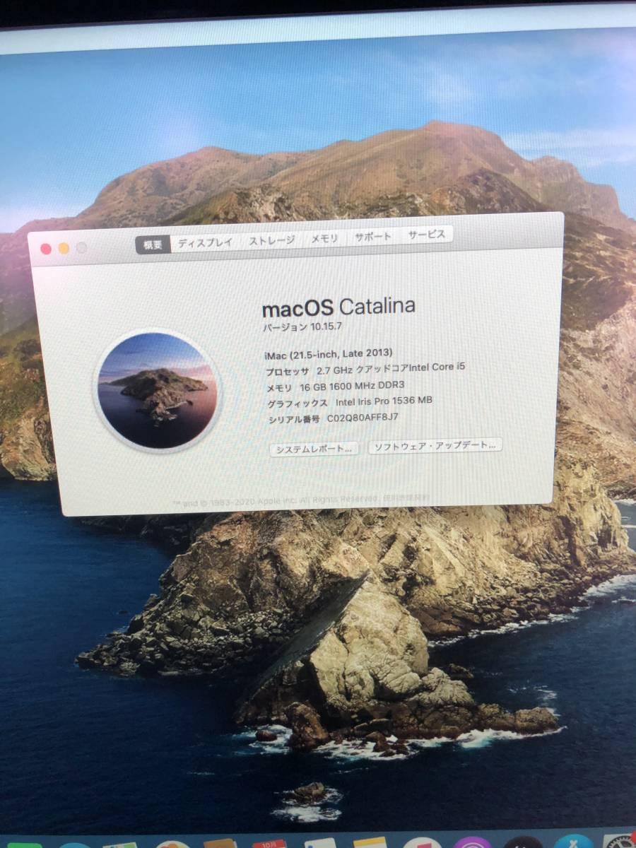 Apple A1418 iMac Late2013 /Core i5 2.7GHz/ メモリ:16GB /HDD:1TB / カメラ / 無線/_画像5