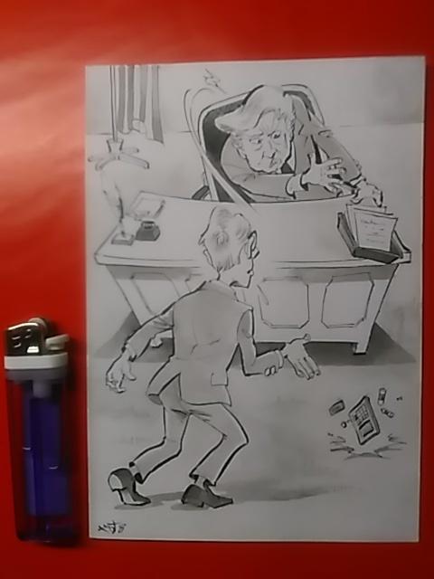 時事風刺漫画〔計算が狂った!〕           _原画全体図です。