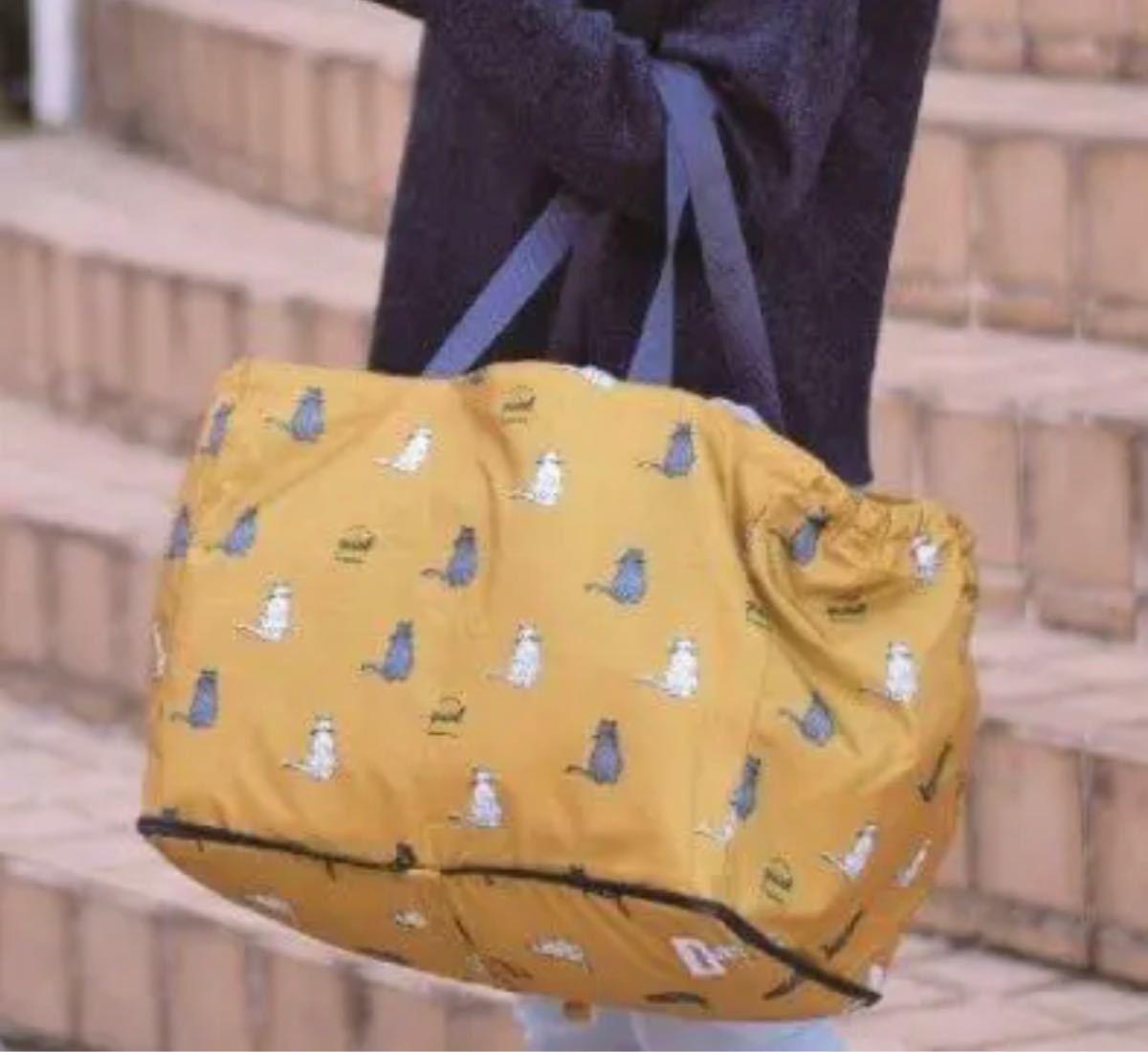 猫柄保冷保温機能付きレジカゴバッグ  大容量折りたたみエコマイバッグ