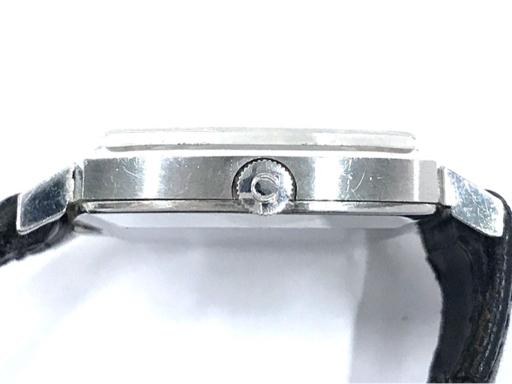 313837 1円 オメガ Geneve ジュネーブ 手巻き 腕時計 スクエアフェイス 青文字盤 メンズ 稼働品 社外ベルト OMEGA_画像3