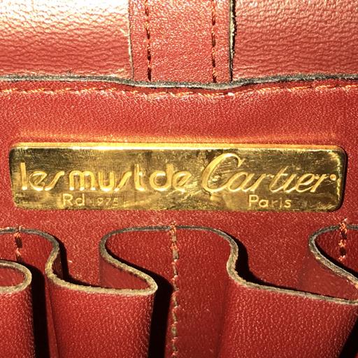 カルティエ マスト レザー 斜めがけ フラップ ショルダーバッグ ボルドー レディース ゴールド金具 Cartier_画像9