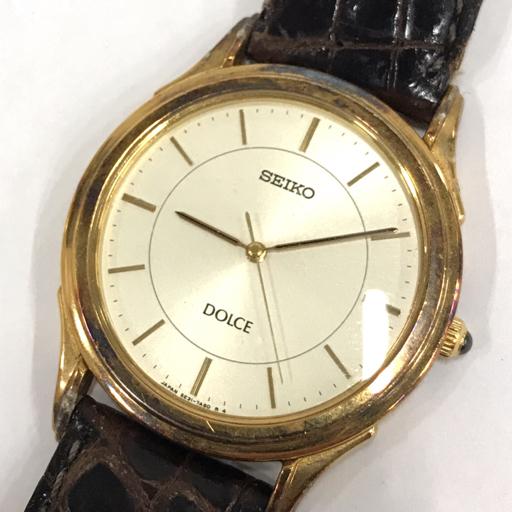 1円 セイコー 6030-5090 クォーツ 腕時計 スクエア 茶文字盤 シルバー 未稼働 他 ドルチェ 含む 計3点 セット SEIKO_画像4