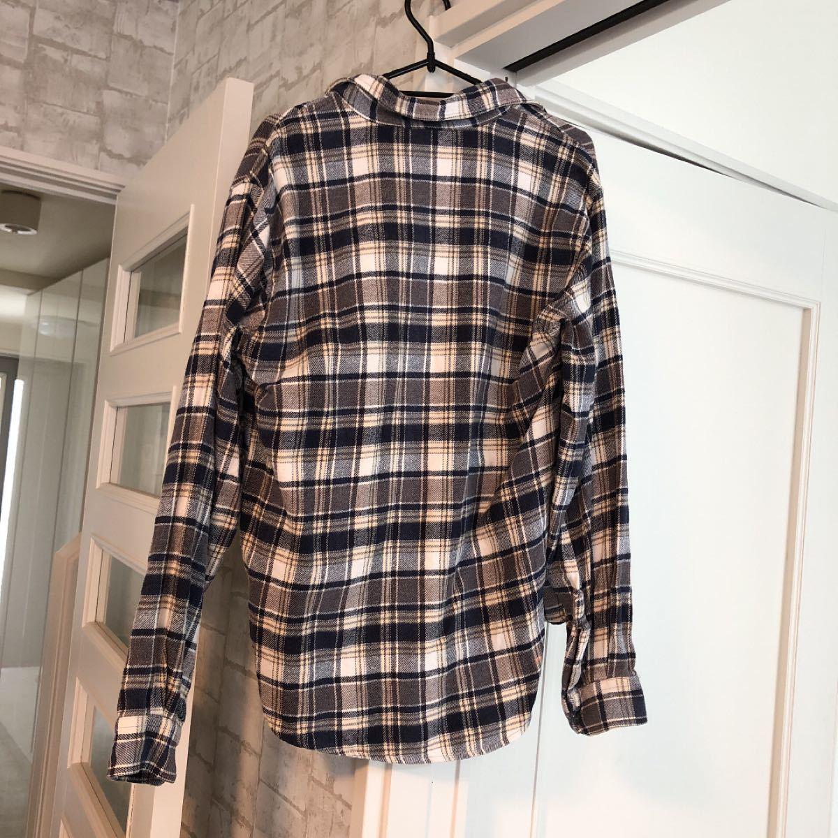 チェックシャツ 長袖シャツ  ネルシャツ 茶グレー系