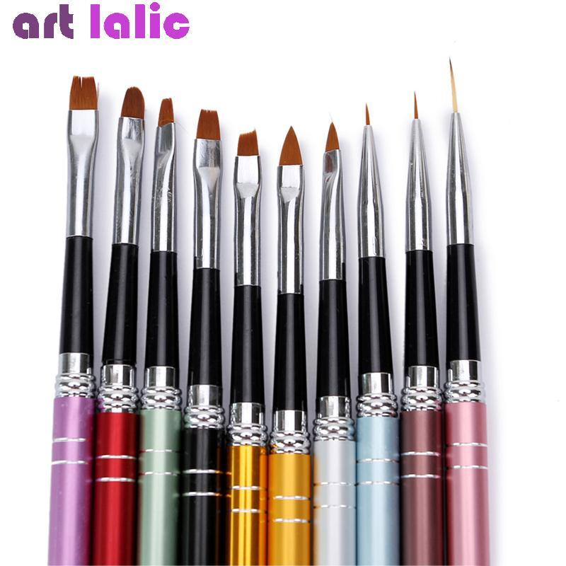 10ピースネイルアートブラシセット10色異なるサイズ銅ハンドルデザインポリッシュナイロンuvジェル絵画ネイルブラシS2704_画像1
