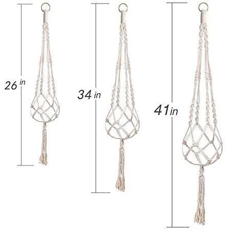 麻縄 植木鉢 屋外屋内植物ハンガーマクラメ プラントハンガー 観葉植物 吊り下げ ロープ ハンギングプランター 3種セット_画像3