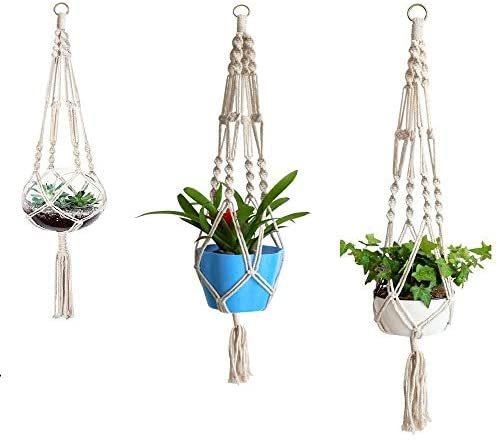 麻縄 植木鉢 屋外屋内植物ハンガーマクラメ プラントハンガー 観葉植物 吊り下げ ロープ ハンギングプランター 3種セット_画像1