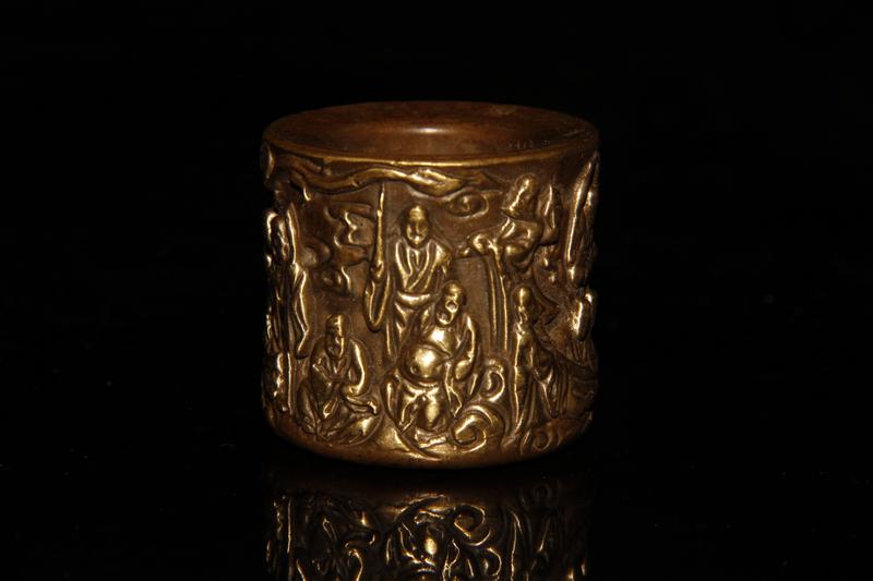 旧蔵 珍品《 銅製 十八羅漢紋 戒指 根付 裝身具 》 賞物 骨董品 古玩収蔵 極美品 102753
