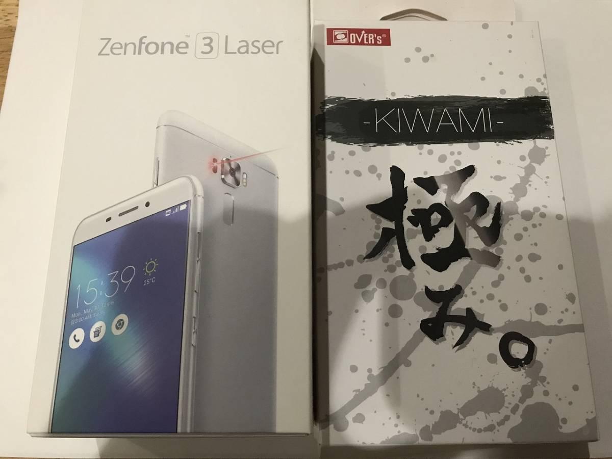 SIMフリー ASUS Z01BDA Zenfone3 Laser ZC551KL シルバー 中古本体 動作確認品 付属品(イヤホン(未使用)、充電器、ケーブル)+おまけ付_画像1