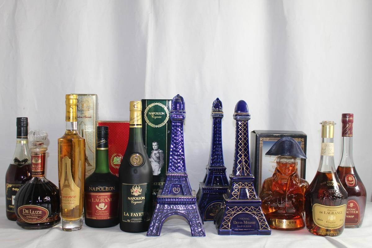 1*2n酒436D 古酒・未開栓 11本セット GAUTIER ゴーティエ De Luze ドリューズ ナポレオン エッフェル塔等 陶器ボトル コニャック 箱付き有