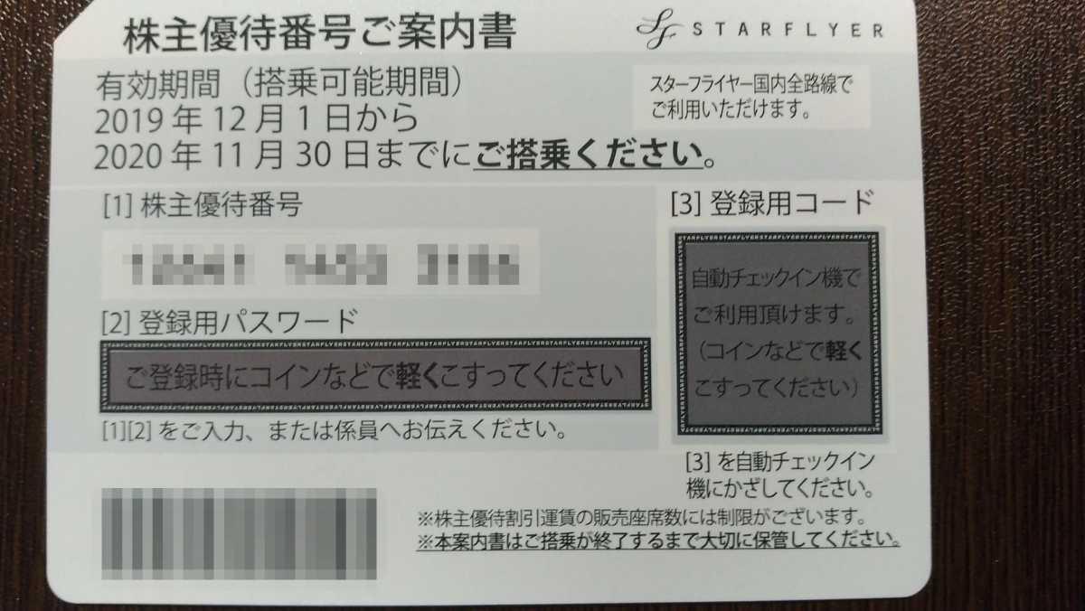 スターフライヤー★送料無料★株主優待券1-6枚_画像1