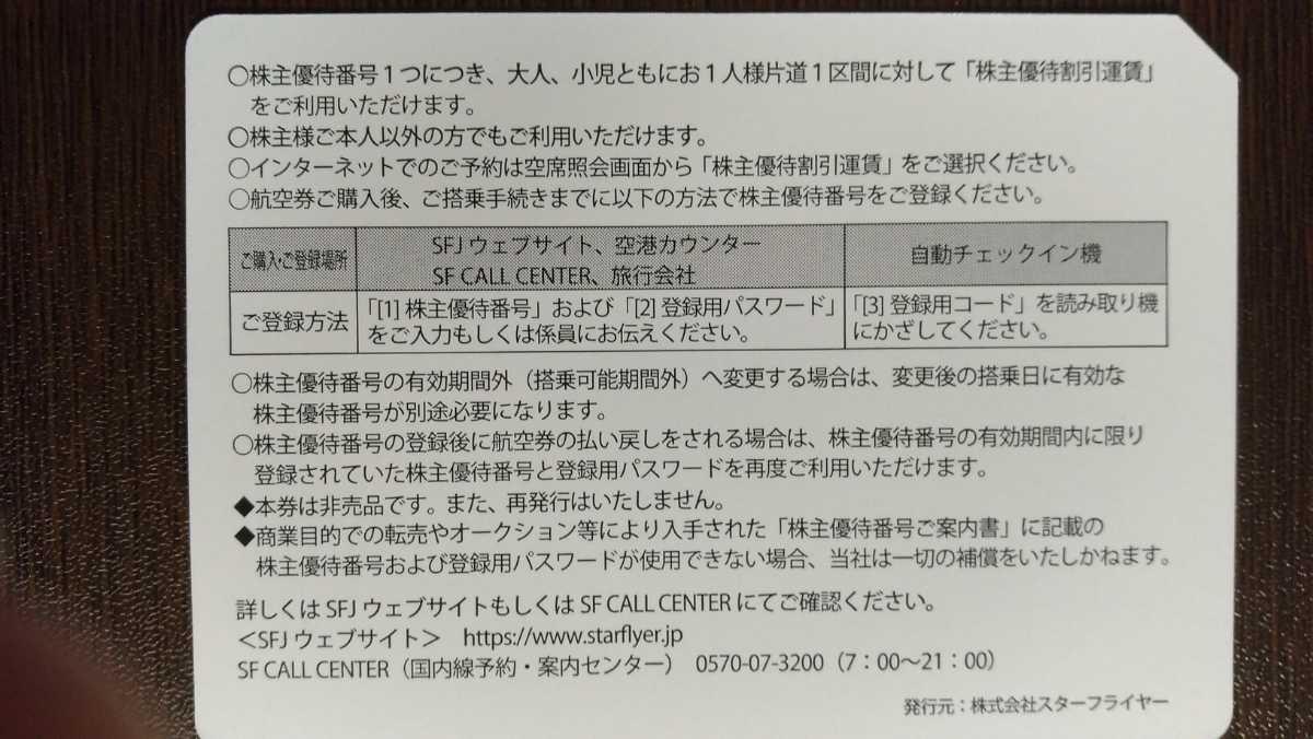 スターフライヤー★送料無料★株主優待券1-6枚_画像2