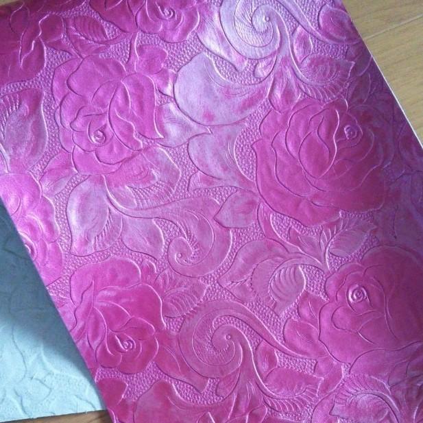 革ハギレ  薔薇型押し  パールピンク  レザークラフト はぎれ 古布