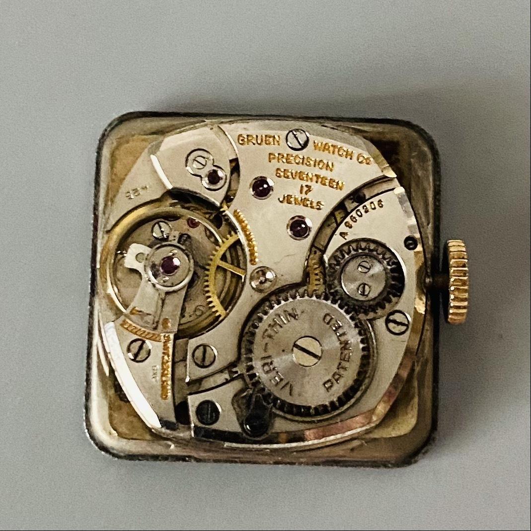 【アンティーク グリュエン】Gruen veri-thin 1940年代 スモセコ cal 425 17石 手巻き メンズ レディース ビンテージ 腕時計 スイス 訳あり_画像8