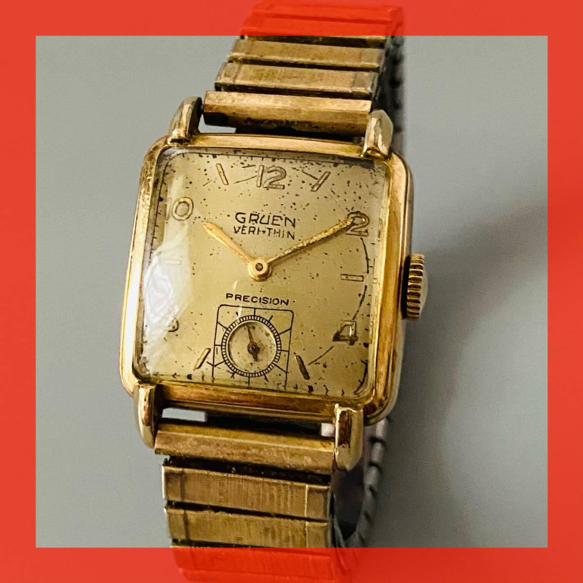 【アンティーク グリュエン】Gruen veri-thin 1940年代 スモセコ cal 425 17石 手巻き メンズ レディース ビンテージ 腕時計 スイス 訳あり_画像1