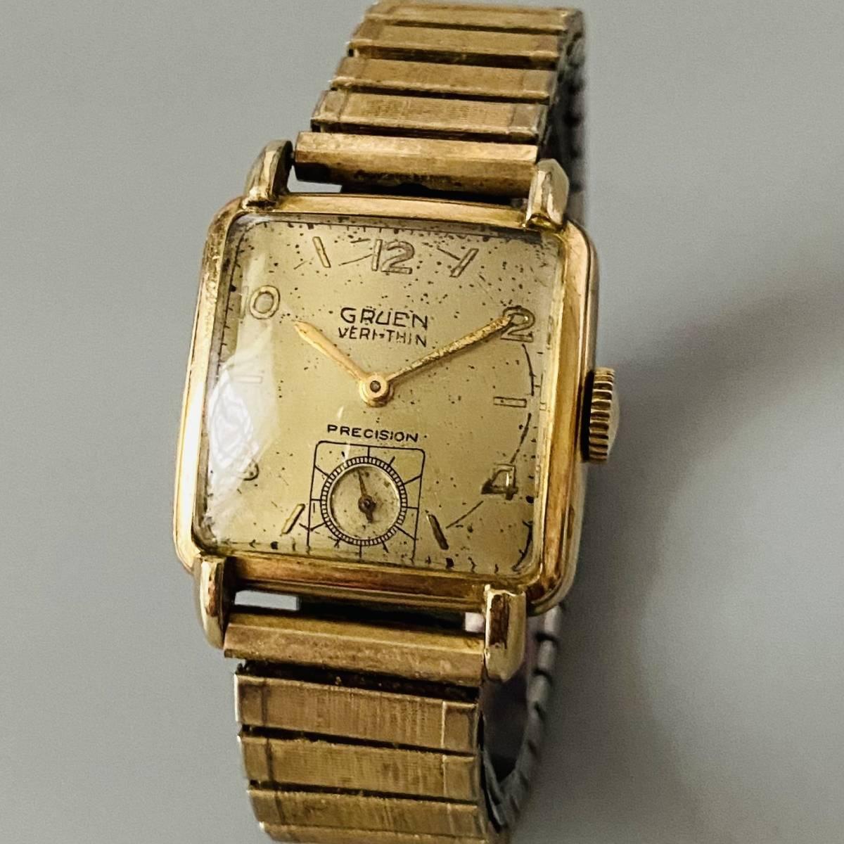 【アンティーク グリュエン】Gruen veri-thin 1940年代 スモセコ cal 425 17石 手巻き メンズ レディース ビンテージ 腕時計 スイス 訳あり_画像2