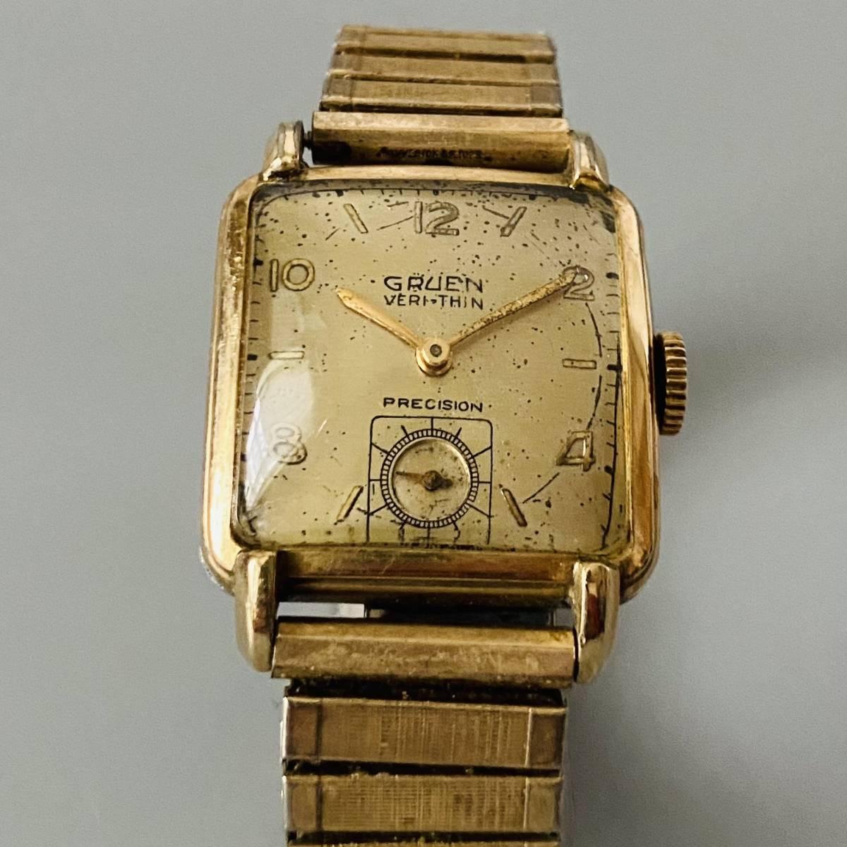 【アンティーク グリュエン】Gruen veri-thin 1940年代 スモセコ cal 425 17石 手巻き メンズ レディース ビンテージ 腕時計 スイス 訳あり_画像5