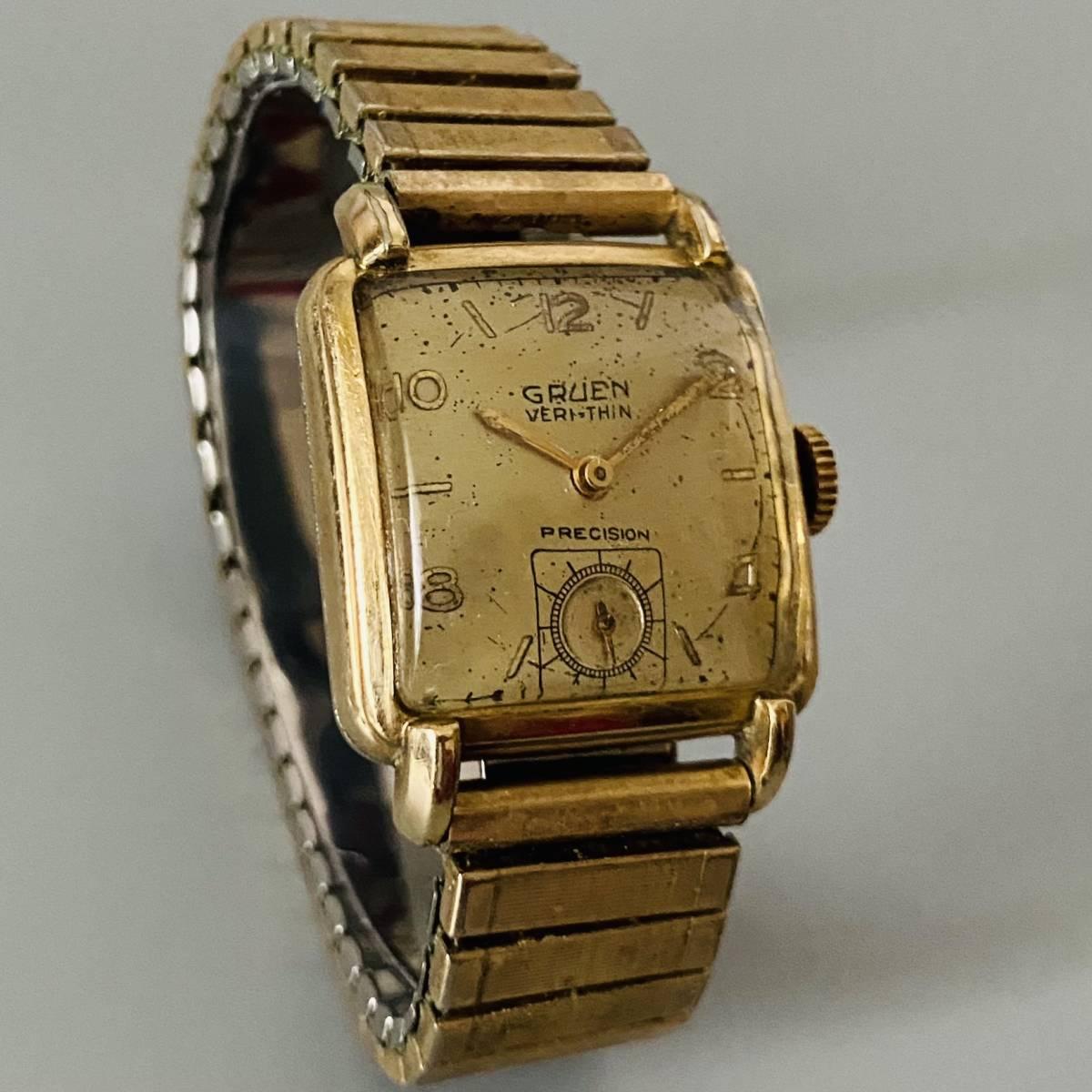 【アンティーク グリュエン】Gruen veri-thin 1940年代 スモセコ cal 425 17石 手巻き メンズ レディース ビンテージ 腕時計 スイス 訳あり_画像4